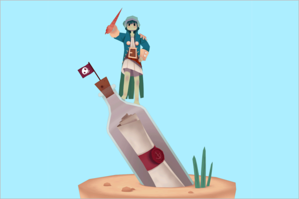 3D Tumblr Lowpoly Model
