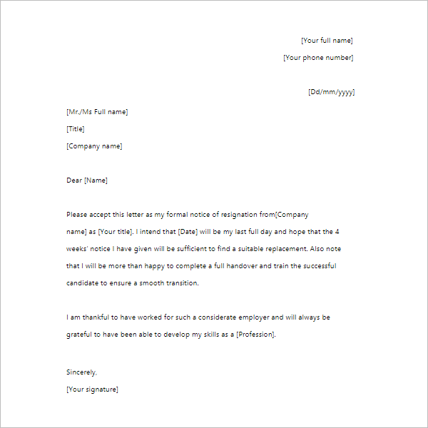 4 Week's Notice Period Letter Template