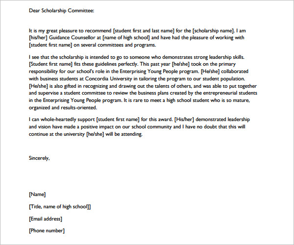 8 Letter Of Recommendation For Scholarship