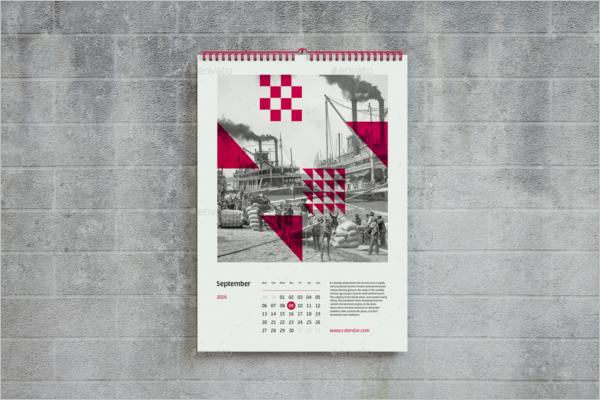A4 Wall Calendar Mockup Design