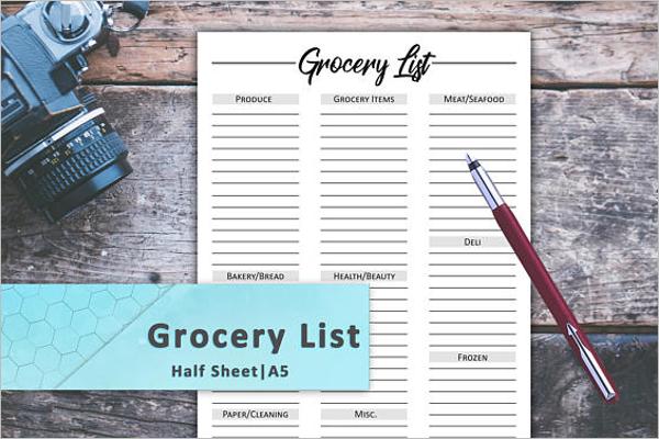 A5 Size Sheet Grocery List