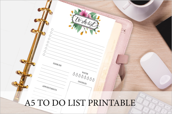 A5 To Do List Template