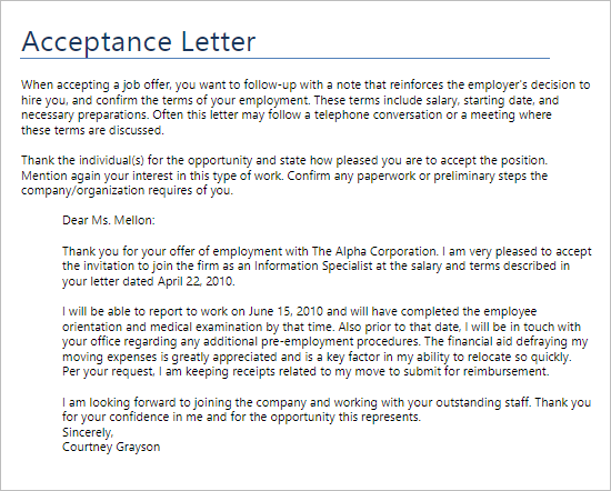 Acceptance Letter For Company