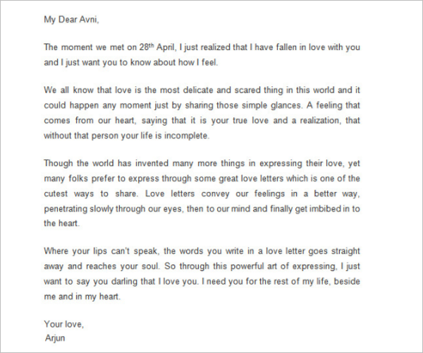 Amazing Love Letter Template