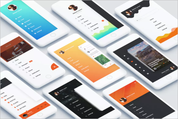 Android App Design Template Illustrator