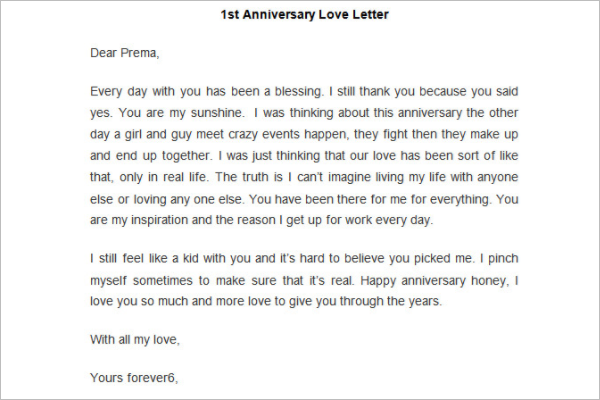Anniversary Love Letter Template