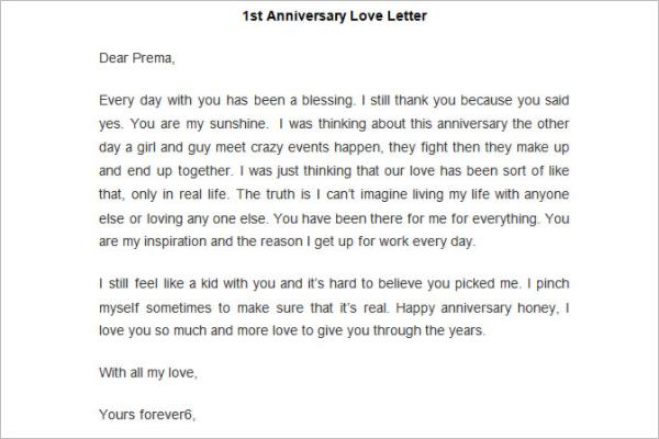 Anniversary Love Letter Template