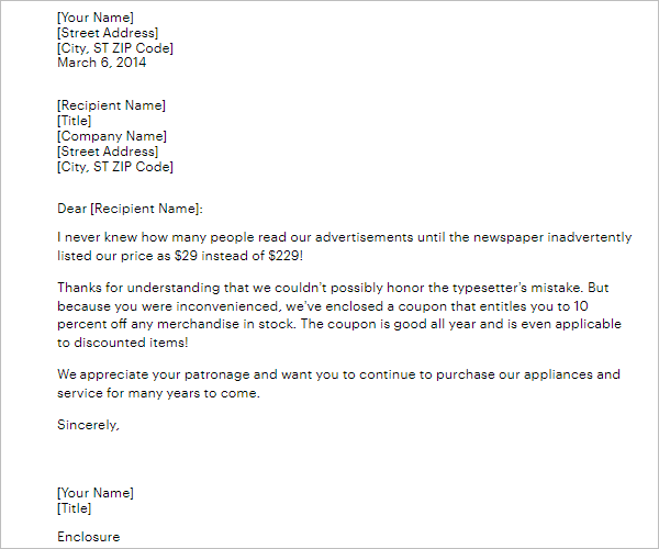 Apology Letter Format to Company