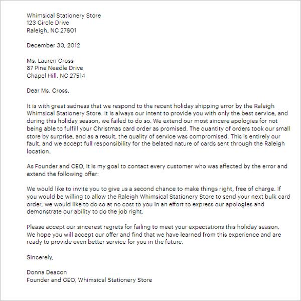 Apology Letter Sample