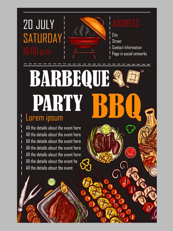 BBQ Menu Card Template Design