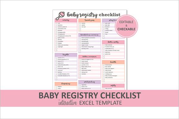 Baby Registry Checklist Excel template