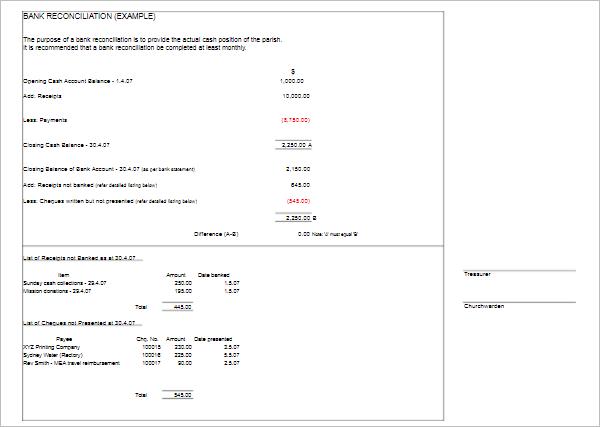 Balance Sheet Reconciliation Excel