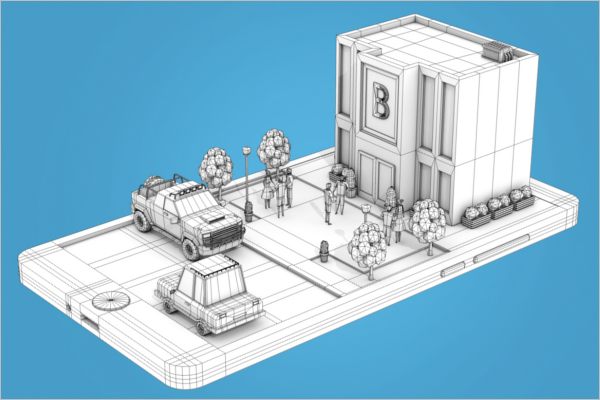 Bank Architecture 3D Design
