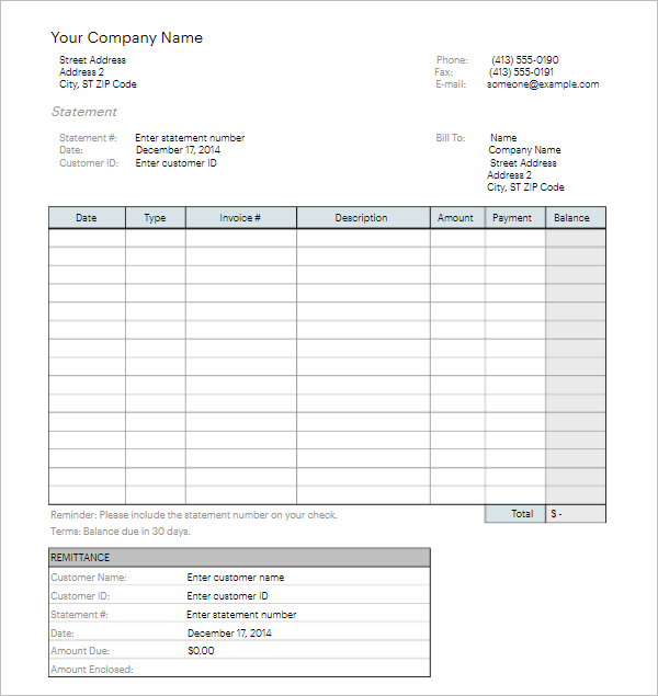 Bank Customer Billing Statement Template