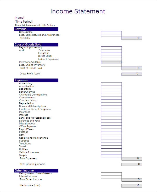 Bank Customer Income Statement Template
