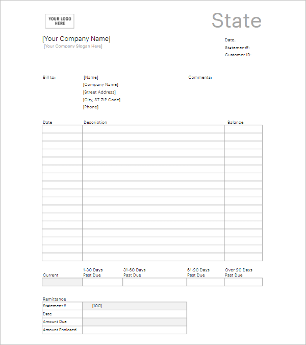Bank Income Statement Template