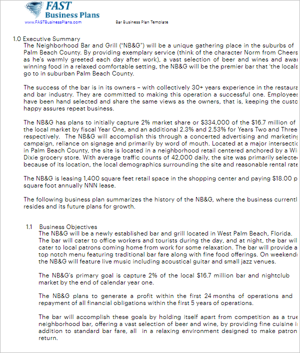 166 business plan sample free ppt pdf doc formats bar business plan sample fbccfo Gallery