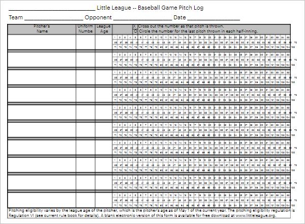 Baseball Pitch Chart Template