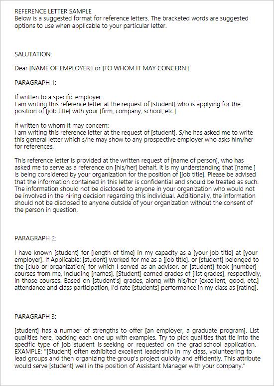 Basic Employement Reference Letter
