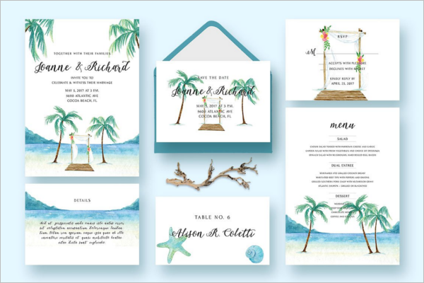 Beach Wedding Invitation Template