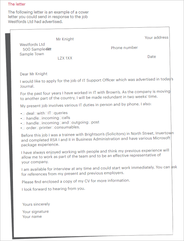 Best Cover Letter Examples For Job