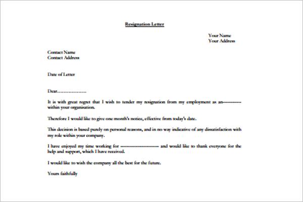 Best Resignation Letter Format