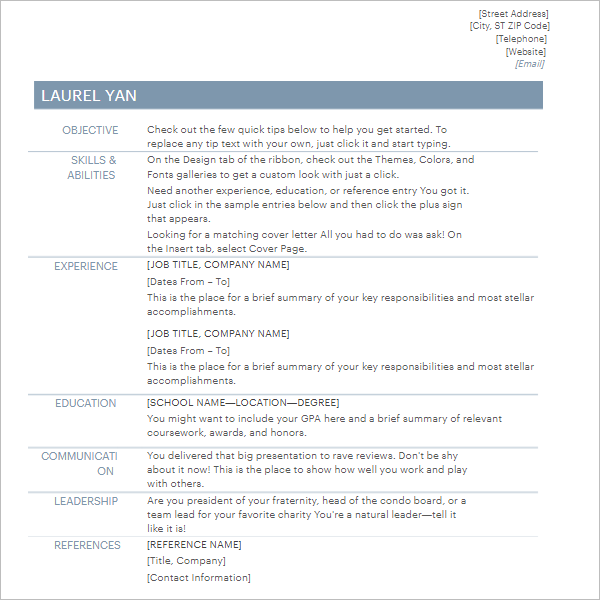 Best Resume Outline