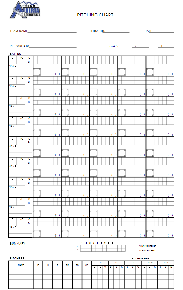Best Sports Pitch Chart Template