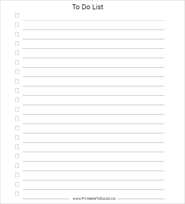 Best To Do List Example