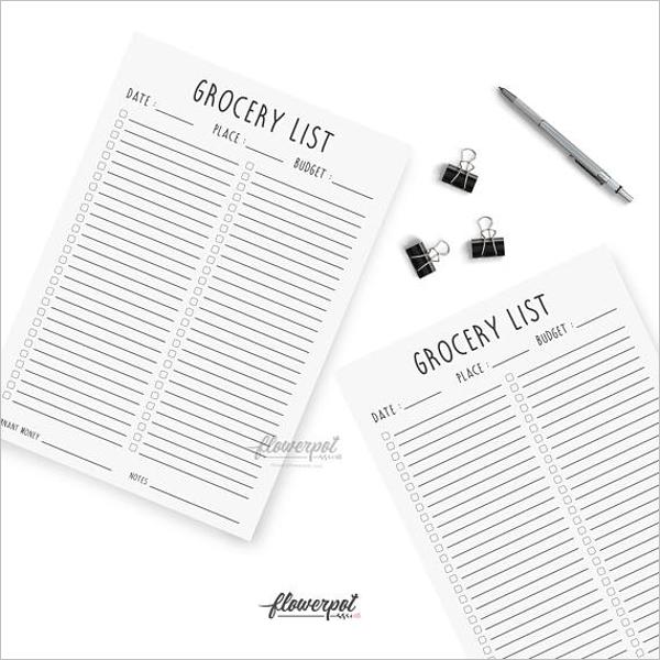 BlankGrocery List PDF