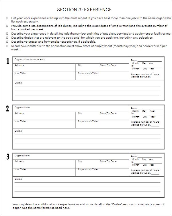Blank Job Application Letter