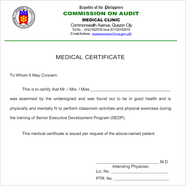 Blank Medical Certificate Format