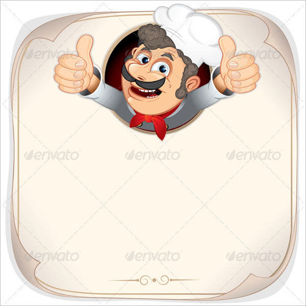 Blank Menu Design with Cook