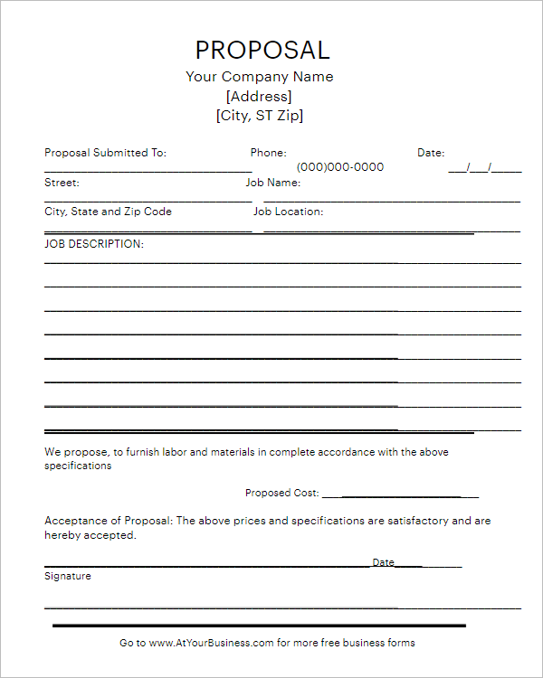 Blank Proposal Writing Template