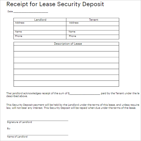 Blank Security Form Template