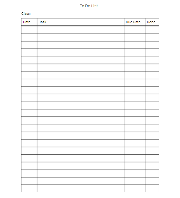 blank to do list template