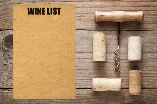 Blank Wine Menu Template