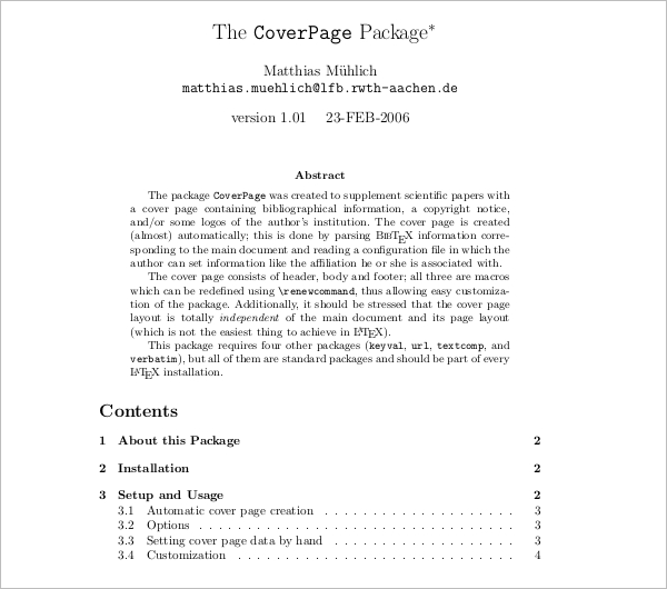 Book Cover Page Template