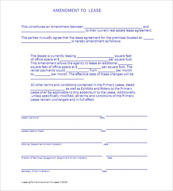 3 Lease Amendment Form