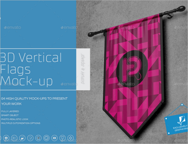 3D Flag Mockup Design