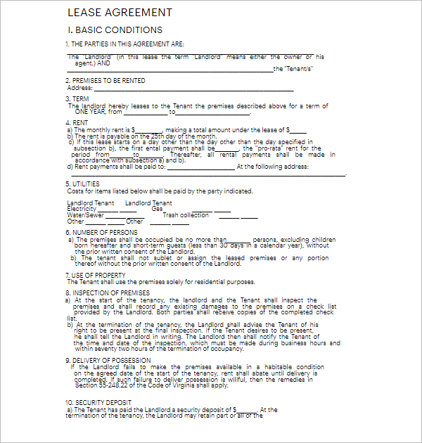 4 Lease Template
