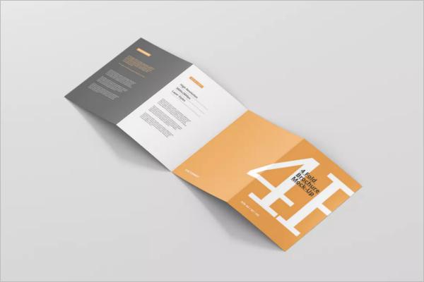 A4 Four Fold Brochure Mockup Design