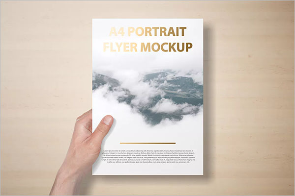 A4 Portait Flyer Mockup Template