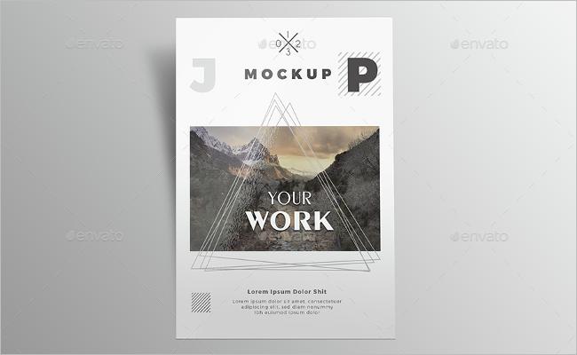 A4 Poster Mockup Print Design