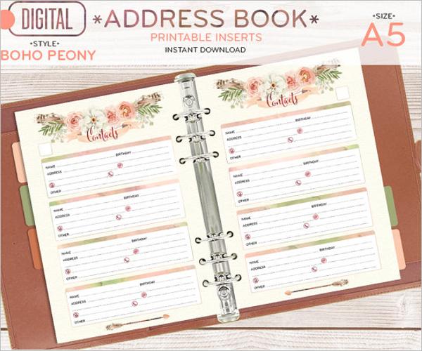 A5 Address Book Template