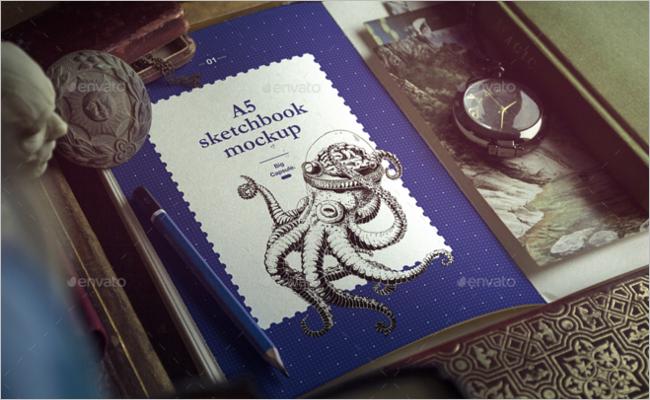 A5 Sketchbook Mockup Template
