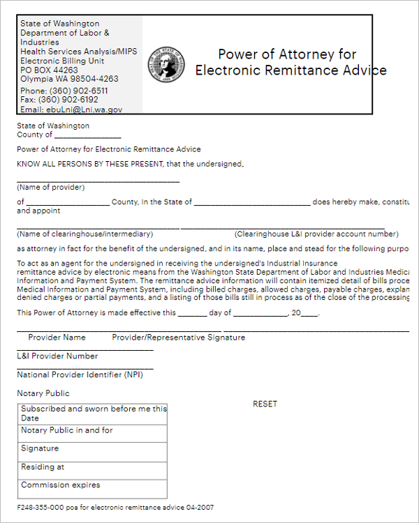 Act Power of Attorney Form