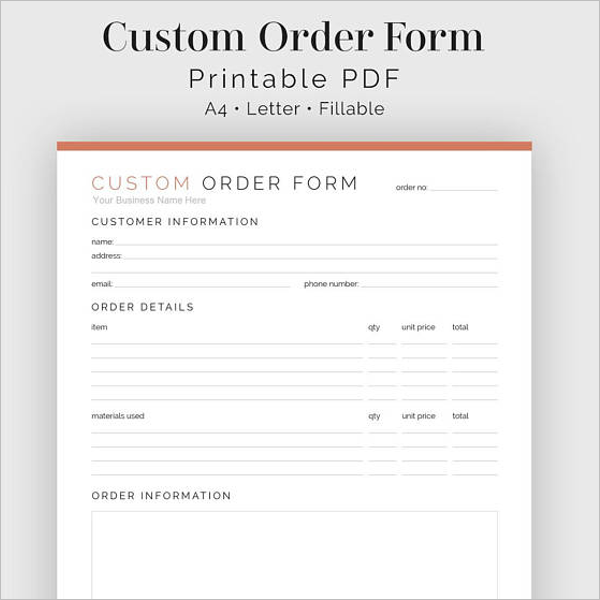Ancient Package Order Form Word