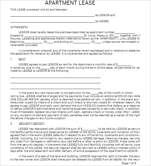 Apartment Lease Template Word