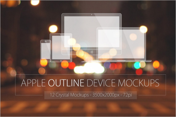 Apple Outline Device Mockup Design